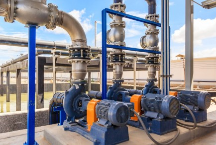 Wastewater,Treatment,Plant.,A,New,Pumping,Station.,Valves,And,Pipes.